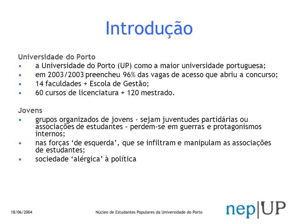 Introdução Universidade do Porto a Universidade do Porto (UP) como a maior universidade portuguesa; em 2003/2003 preencheu 96% das vagas de acesso que