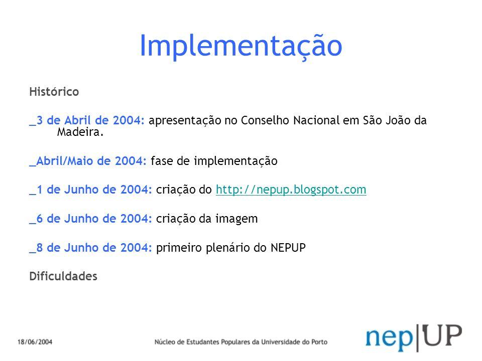 Implementação Histórico _3 de Abril de 2004: apresentação no Conselho Nacional em São João da Madeira. _Abril/Maio de 2004: fase de implementação _1 d