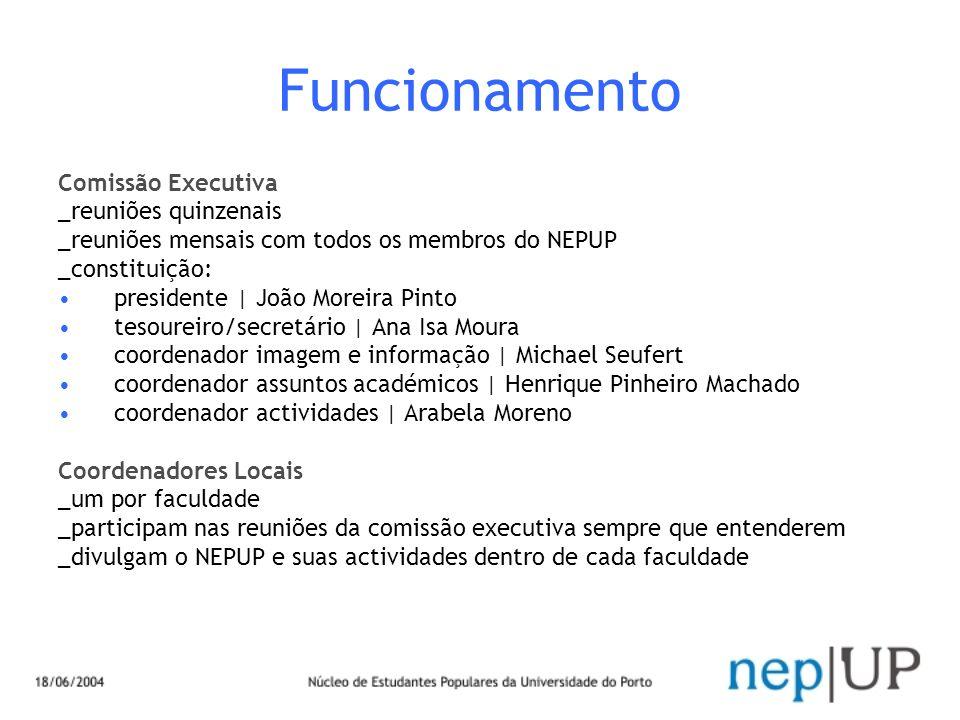 Funcionamento Comissão Executiva _reuniões quinzenais _reuniões mensais com todos os membros do NEPUP _constituição: presidente | João Moreira Pinto t