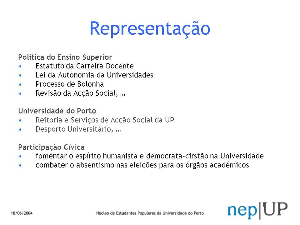 Representação Política do Ensino Superior Estatuto da Carreira Docente Lei da Autonomia da Universidades Processo de Bolonha Revisão da Acção Social,