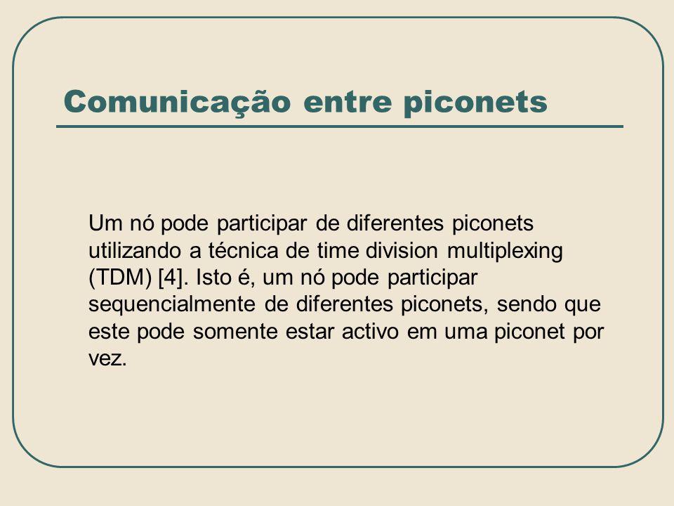 Comunicação entre piconets Um nó pode participar de diferentes piconets utilizando a técnica de time division multiplexing (TDM) [4]. Isto é, um nó po