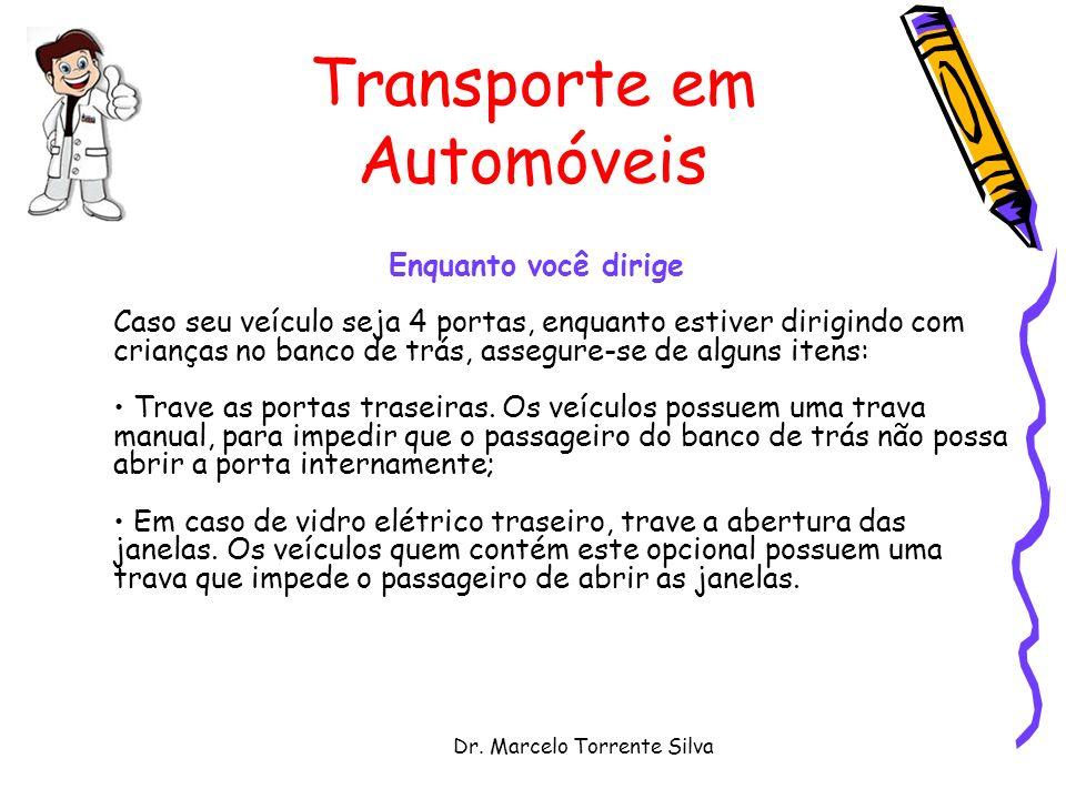 Dr. Marcelo Torrente Silva Transporte em Automóveis Enquanto você dirige Caso seu veículo seja 4 portas, enquanto estiver dirigindo com crianças no ba