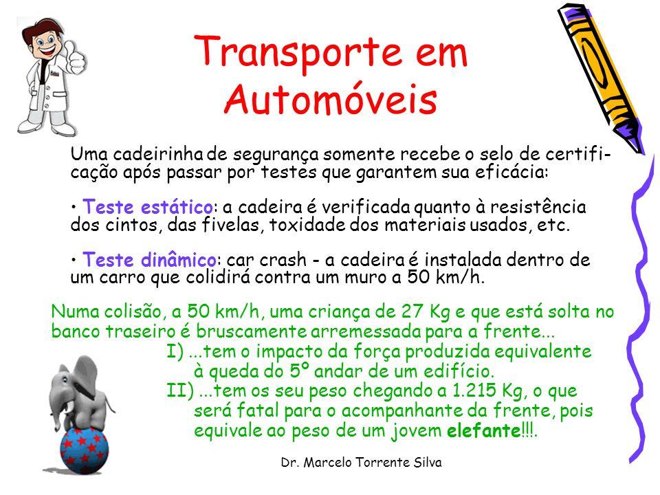 Dr. Marcelo Torrente Silva Transporte em Automóveis Uma cadeirinha de segurança somente recebe o selo de certifi- cação após passar por testes que gar