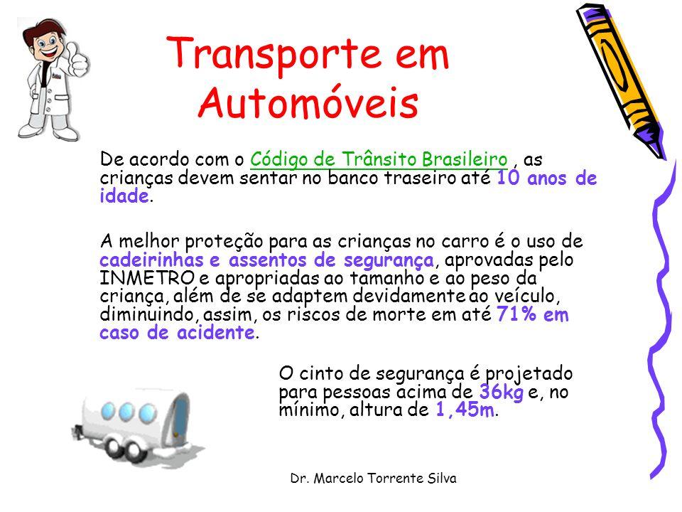 Dr. Marcelo Torrente Silva Transporte em Automóveis De acordo com o Código de Trânsito Brasileiro, as crianças devem sentar no banco traseiro até 10 a