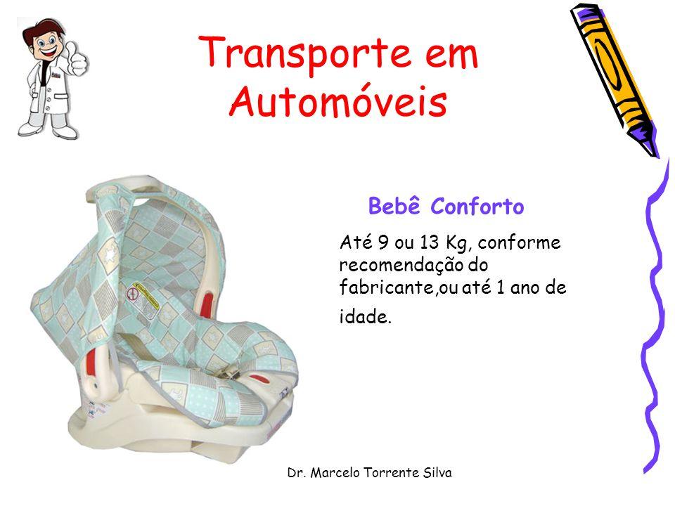 Dr. Marcelo Torrente Silva Transporte em Automóveis Bebê Conforto Até 9 ou 13 Kg, conforme recomendação do fabricante,ou até 1 ano de idade.