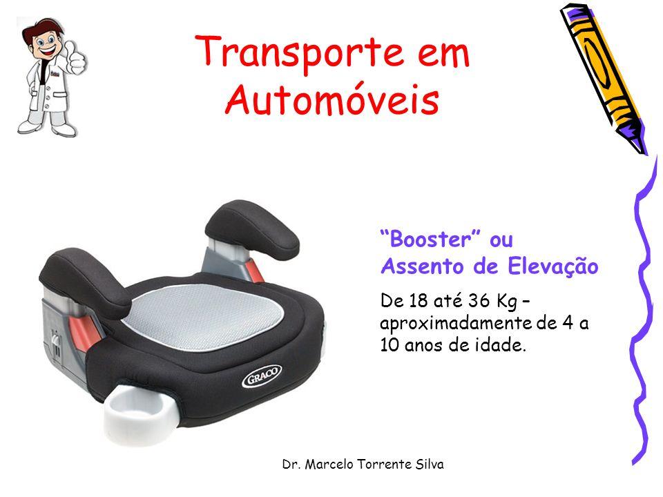 Dr. Marcelo Torrente Silva Transporte em Automóveis Booster ou Assento de Elevação De 18 até 36 Kg – aproximadamente de 4 a 10 anos de idade.