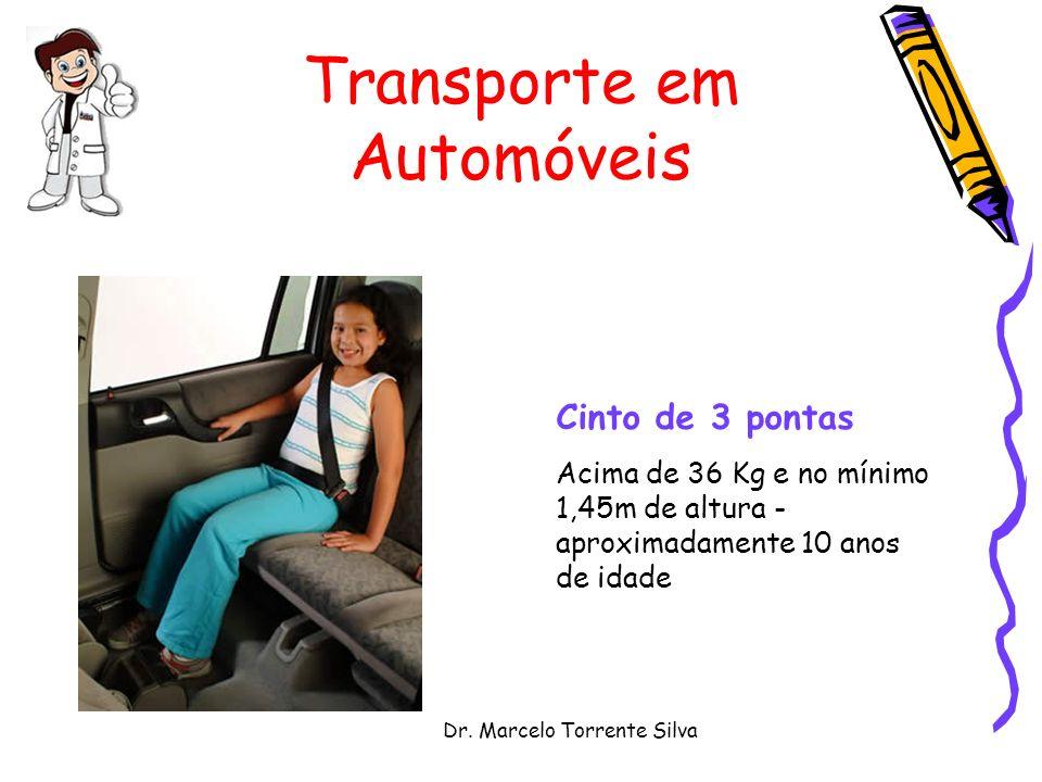 Dr. Marcelo Torrente Silva Transporte em Automóveis Cinto de 3 pontas Acima de 36 Kg e no mínimo 1,45m de altura - aproximadamente 10 anos de idade