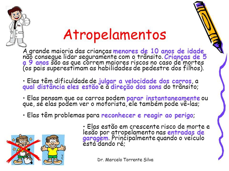 Dr. Marcelo Torrente Silva Atropelamentos A grande maioria das crianças menores de 10 anos de idade não consegue lidar seguramente com o trânsito. Cri