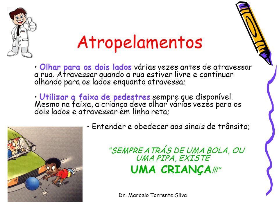 Dr. Marcelo Torrente Silva Atropelamentos Olhar para os dois lados várias vezes antes de atravessar a rua. Atravessar quando a rua estiver livre e con