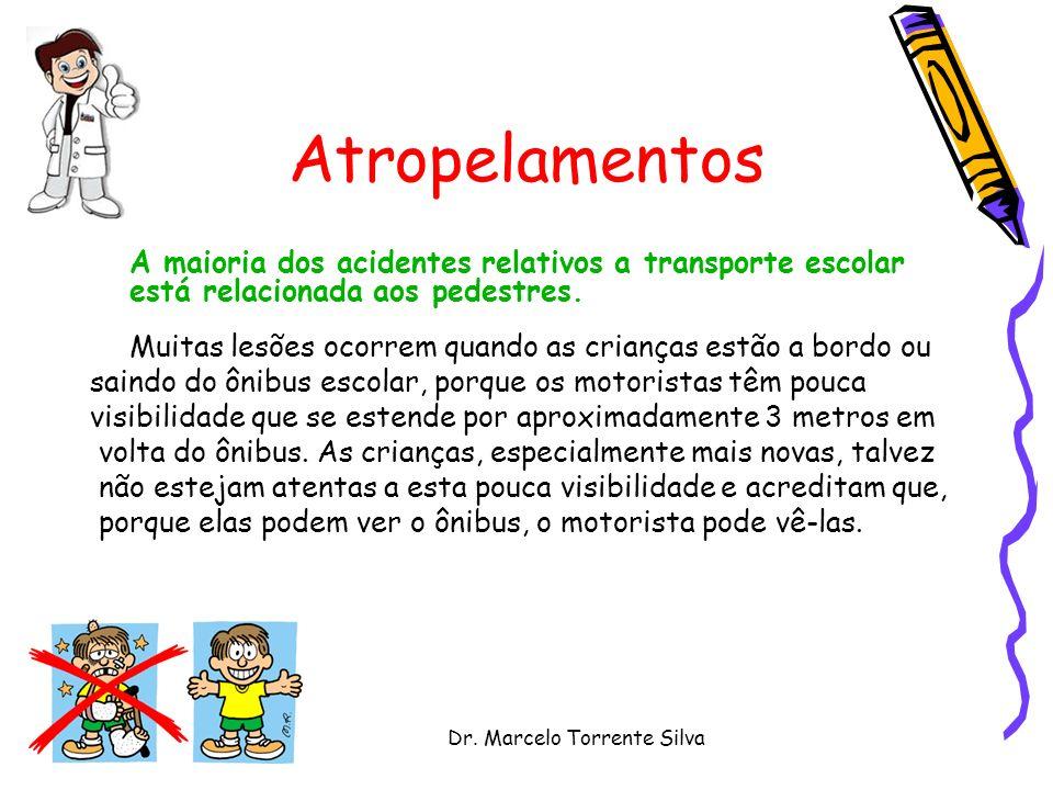 Dr. Marcelo Torrente Silva Atropelamentos A maioria dos acidentes relativos a transporte escolar está relacionada aos pedestres. Muitas lesões ocorrem