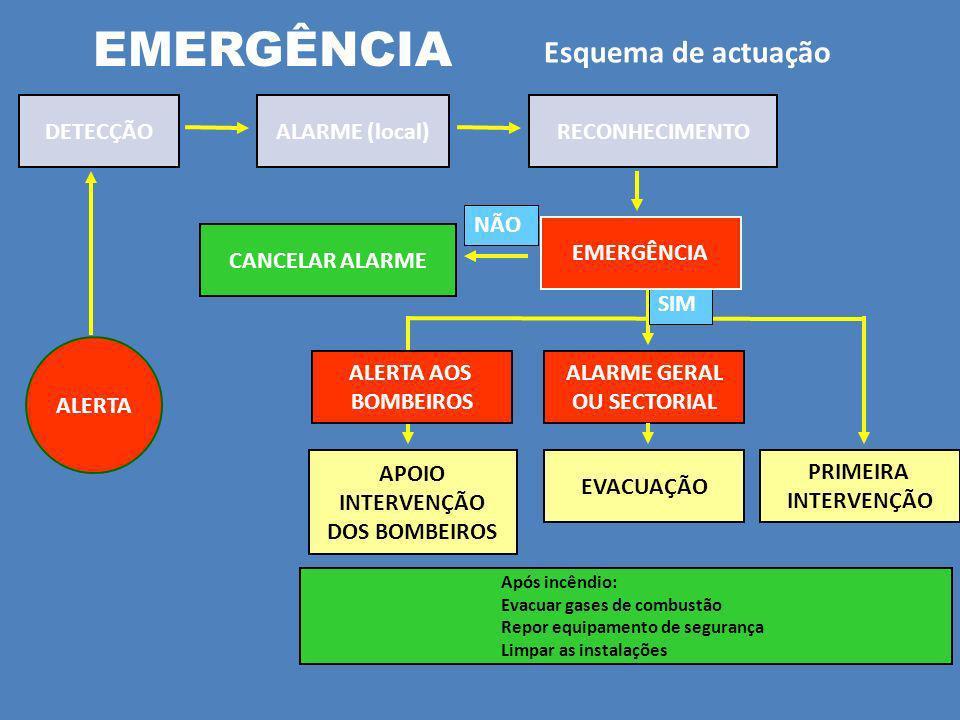 EMERGÊNCIA Esquema de actuação ALERTA DETECÇÃOALARME (local)RECONHECIMENTO CANCELAR ALARME NÃO ALARME GERAL OU SECTORIAL APOIO INTERVENÇÃO DOS BOMBEIROS PRIMEIRA INTERVENÇÃO EVACUAÇÃO ALERTA AOS BOMBEIROS SIM Após incêndio: Evacuar gases de combustão Repor equipamento de segurança Limpar as instalações EMERGÊNCIA