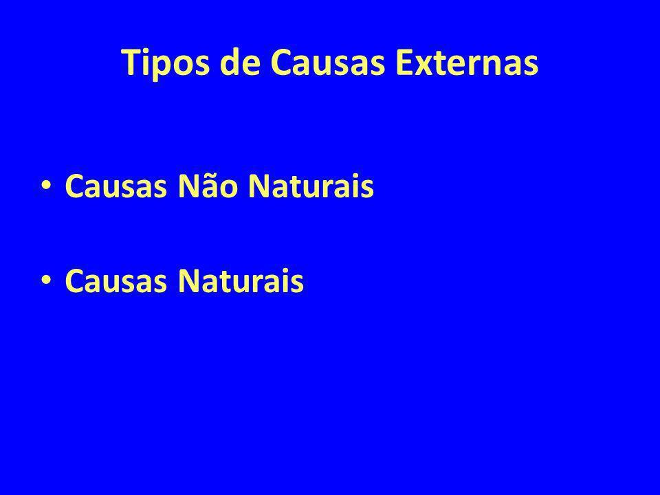 Tipos de Causas Externas Causas Não Naturais Causas Naturais