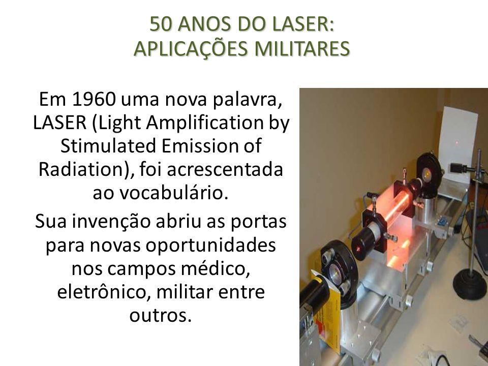 Em 1960 uma nova palavra, LASER (Light Amplification by Stimulated Emission of Radiation), foi acrescentada ao vocabulário. Sua invenção abriu as port