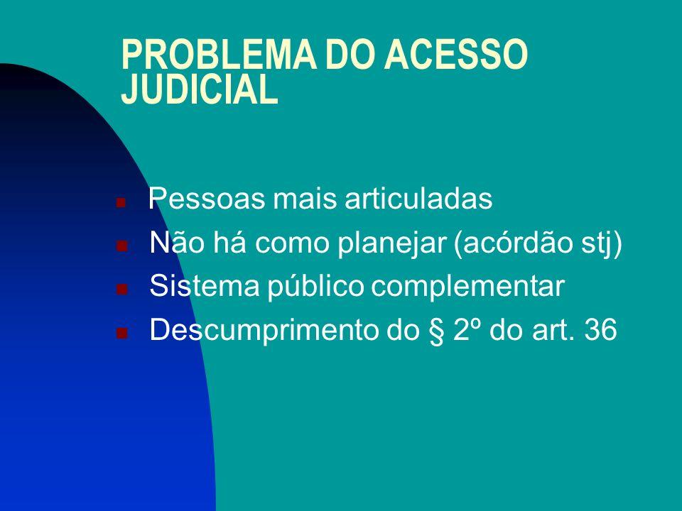 PROBLEMA DO ACESSO JUDICIAL Pessoas mais articuladas Não há como planejar (acórdão stj) Sistema público complementar Descumprimento do § 2º do art.