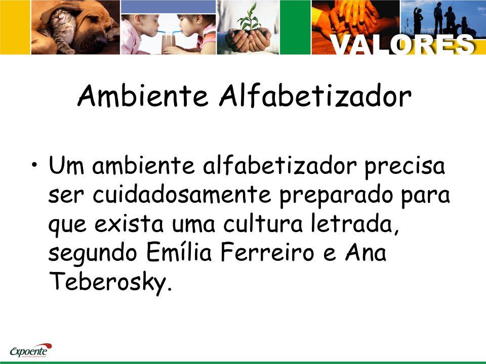 Ambiente Alfabetizador Um ambiente alfabetizador precisa ser cuidadosamente preparado para que exista uma cultura letrada, segundo Emília Ferreiro e Ana Teberosky.