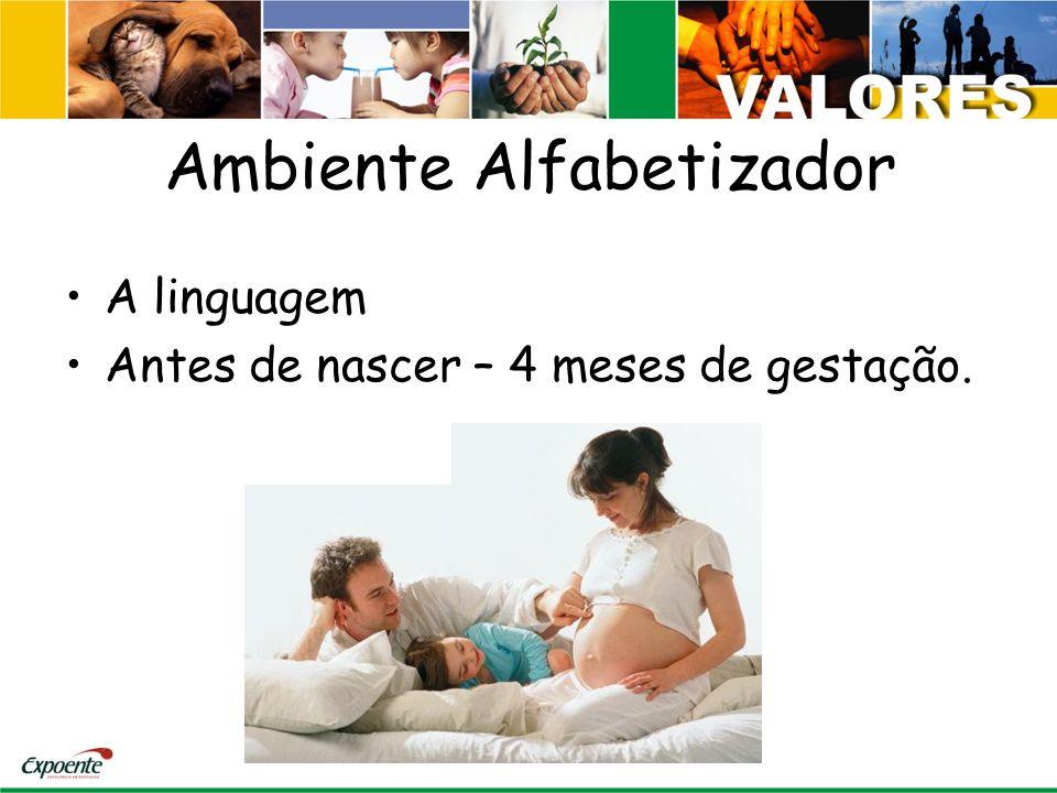 Ambiente Alfabetizador A linguagem Antes de nascer – 4 meses de gestação.