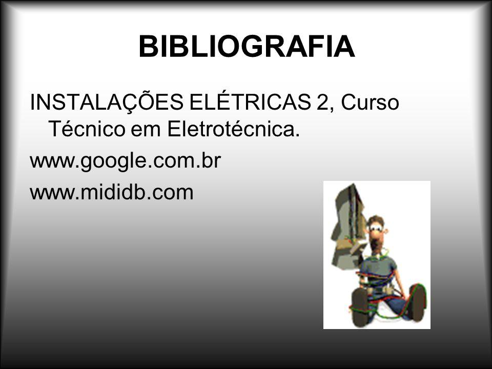BIBLIOGRAFIA INSTALAÇÕES ELÉTRICAS 2, Curso Técnico em Eletrotécnica. www.google.com.br www.mididb.com