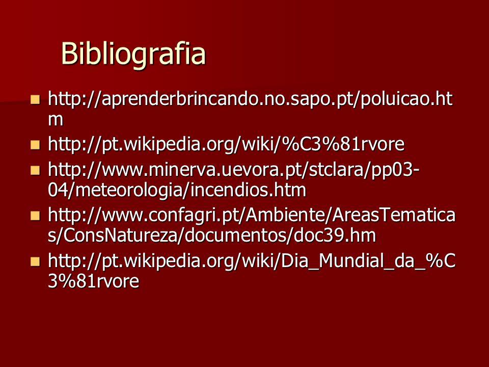 Bibliografia http://aprenderbrincando.no.sapo.pt/poluicao.ht m http://aprenderbrincando.no.sapo.pt/poluicao.ht m http://pt.wikipedia.org/wiki/%C3%81rv