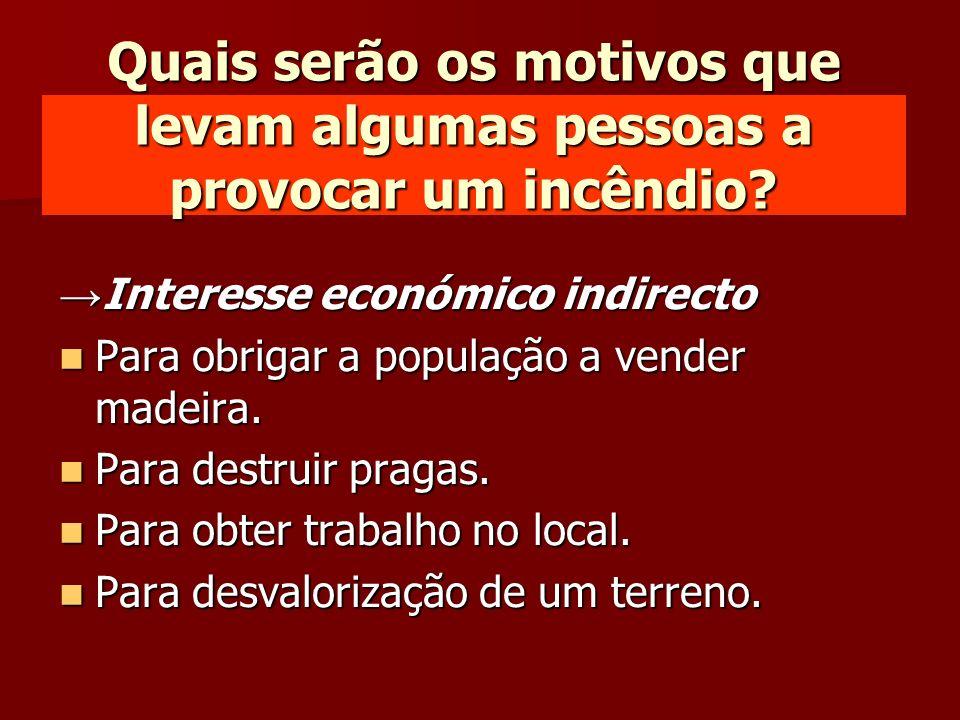 Interesse económico indirecto Interesse económico indirecto Para obrigar a população a vender madeira. Para obrigar a população a vender madeira. Para