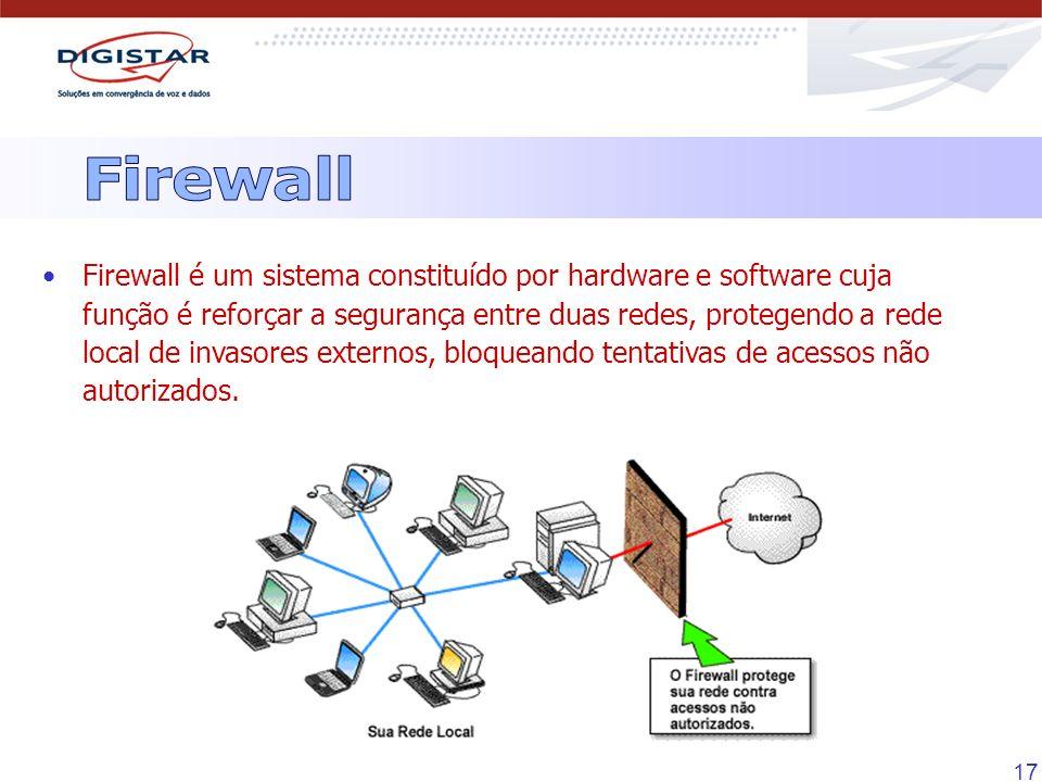 17 Firewall é um sistema constituído por hardware e software cuja função é reforçar a segurança entre duas redes, protegendo a rede local de invasores