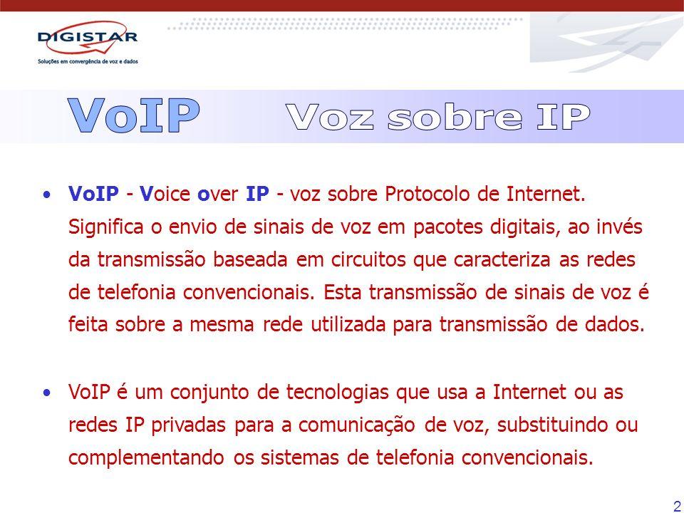 2 VoIP - Voice over IP - voz sobre Protocolo de Internet. Significa o envio de sinais de voz em pacotes digitais, ao invés da transmissão baseada em c