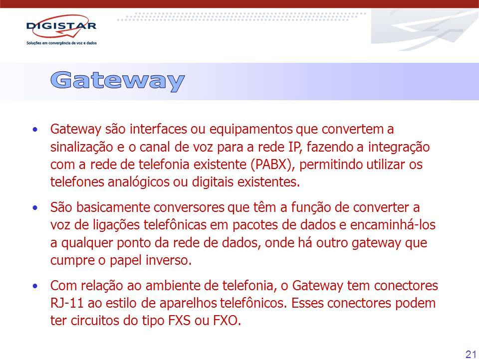 21 Gateway são interfaces ou equipamentos que convertem a sinalização e o canal de voz para a rede IP, fazendo a integração com a rede de telefonia ex