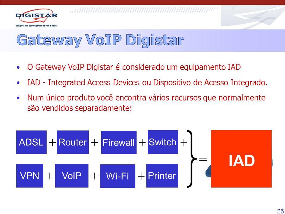 25 ADSL + Router + O Gateway VoIP Digistar é considerado um equipamento IAD IAD - Integrated Access Devices ou Dispositivo de Acesso Integrado. Num ún