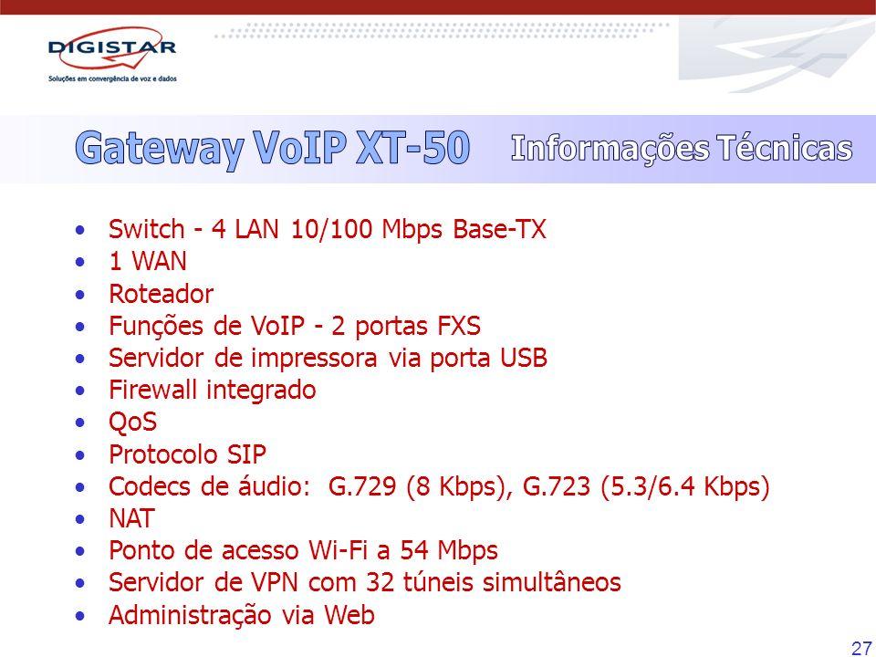 27 Switch - 4 LAN 10/100 Mbps Base-TX 1 WAN Roteador Funções de VoIP - 2 portas FXS Servidor de impressora via porta USB Firewall integrado QoS Protoc