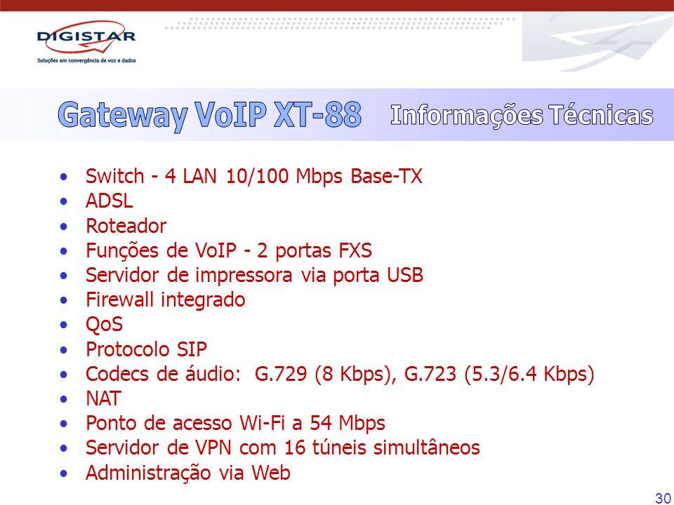 30 Switch - 4 LAN 10/100 Mbps Base-TX ADSL Roteador Funções de VoIP - 2 portas FXS Servidor de impressora via porta USB Firewall integrado QoS Protoco