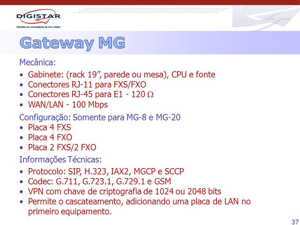 37 Mecânica: Gabinete: (rack 19, parede ou mesa), CPU e fonte Conectores RJ-11 para FXS/FXO Conectores RJ-45 para E1 - 120 WAN/LAN - 100 Mbps Configur