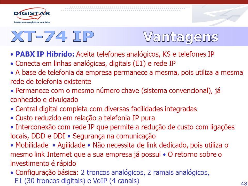 43 PABX IP Híbrido: Aceita telefones analógicos, KS e telefones IP Conecta em linhas analógicas, digitais (E1) e rede IP A base de telefonia da empres