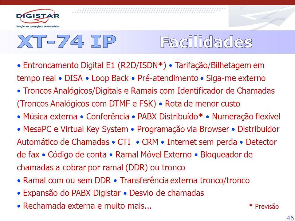 45 Entroncamento Digital E1 (R2D/ISDN*) Tarifação/Bilhetagem em tempo real DISA Loop Back Pré-atendimento Siga-me externo Troncos Analógicos/Digitais