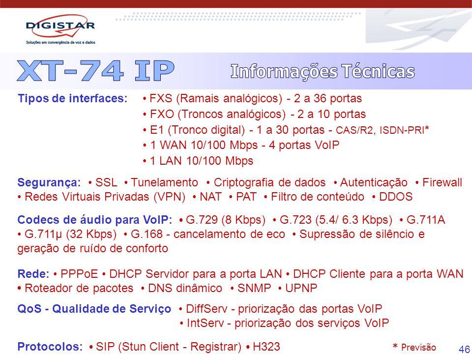 46 Tipos de interfaces: FXS (Ramais analógicos) - 2 a 36 portas FXO (Troncos analógicos) - 2 a 10 portas E1 (Tronco digital) - 1 a 30 portas - CAS/R2,