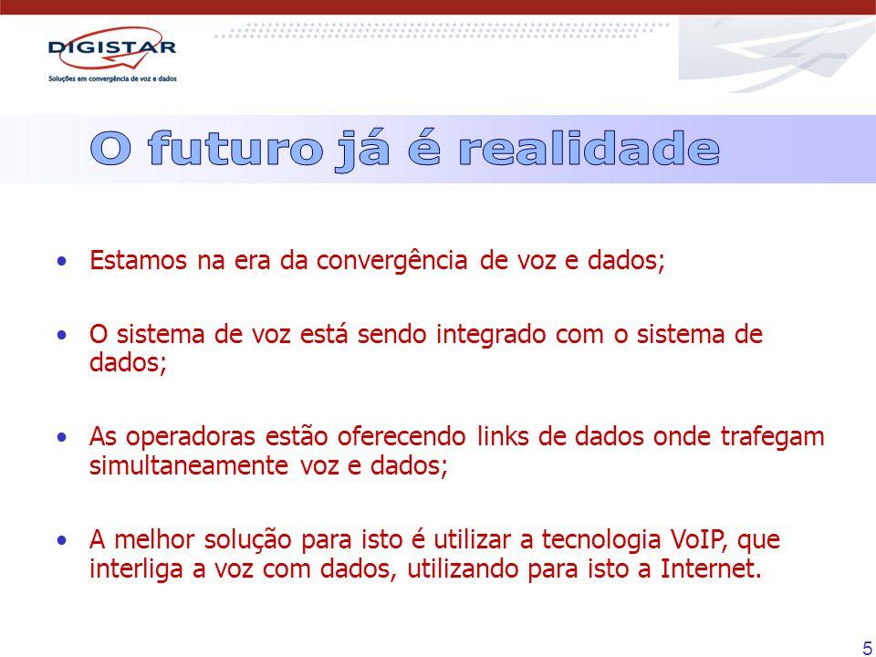46 Tipos de interfaces: FXS (Ramais analógicos) - 2 a 36 portas FXO (Troncos analógicos) - 2 a 10 portas E1 (Tronco digital) - 1 a 30 portas - CAS/R2, ISDN-PRI * 1 WAN 10/100 Mbps - 4 portas VoIP 1 LAN 10/100 Mbps Segurança: SSL Tunelamento Criptografia de dados Autenticação Firewall Redes Virtuais Privadas (VPN) NAT PAT Filtro de conteúdo DDOS Codecs de áudio para VoIP: G.729 (8 Kbps) G.723 (5.4/ 6.3 Kbps) G.711A G.711µ (32 Kbps) G.168 - cancelamento de eco Supressão de silêncio e geração de ruído de conforto Rede: PPPoE DHCP Servidor para a porta LAN DHCP Cliente para a porta WAN Roteador de pacotes DNS dinâmico SNMP UPNP QoS - Qualidade de Serviço DiffServ - priorização das portas VoIP IntServ - priorização dos serviços VoIP Protocolos: SIP (Stun Client - Registrar) H323 * Previsão