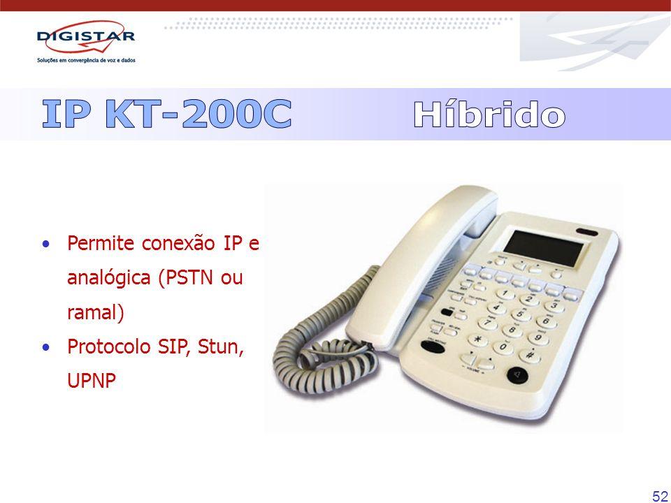 52 Permite conexão IP e analógica (PSTN ou ramal) Protocolo SIP, Stun, UPNP