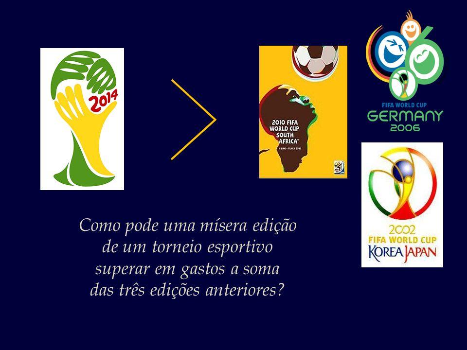 Os gastos com a Copa 2014 já passam dos R$ 30 bilhões, – superando a soma do que foi gasto nas três últimas edições do torneio. Fonte: Época Negócios