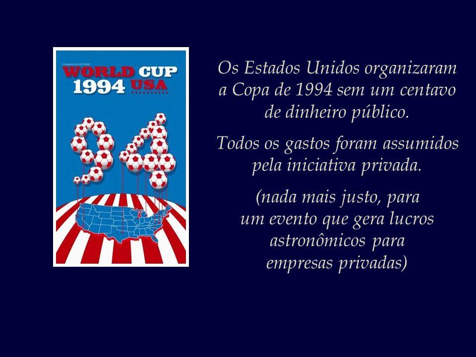 Os Estados Unidos organizaram a Copa de 1994 sem um centavo de dinheiro público.