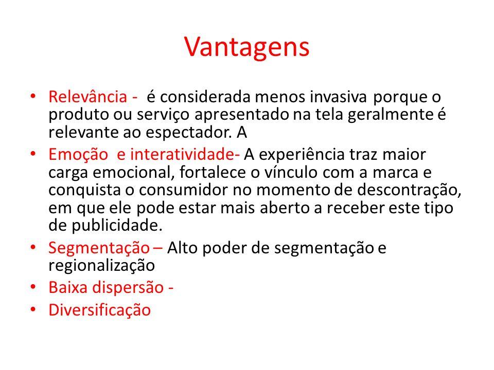 Vantagens Relevância - é considerada menos invasiva porque o produto ou serviço apresentado na tela geralmente é relevante ao espectador. A Emoção e i