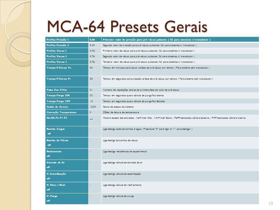 MCA-64 Presets Gerais PreVac Pressão 10.40Primeiro valor de pressão para pré vácuo pulsante ( Só para sistemas c/ transdutor ) PreVac Pressão 20.40Seg