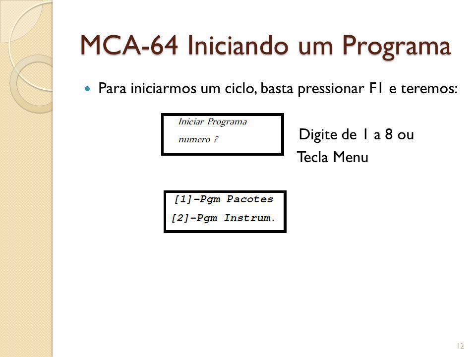 MCA-64 Iniciando um Programa Para iniciarmos um ciclo, basta pressionar F1 e teremos: Digite de 1 a 8 ou Tecla Menu 12