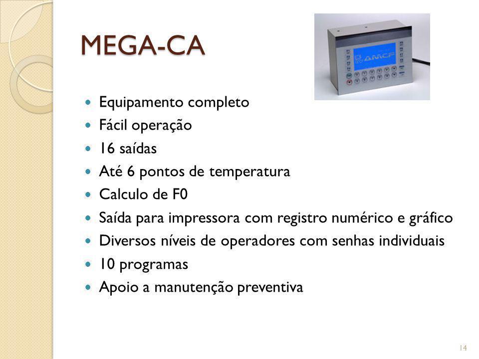 MEGA-CA Equipamento completo Fácil operação 16 saídas Até 6 pontos de temperatura Calculo de F0 Saída para impressora com registro numérico e gráfico