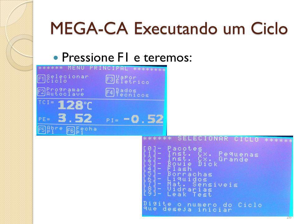 MEGA-CA Executando um Ciclo Pressione F1 e teremos: 26