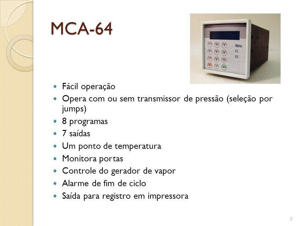 MCA-64 Fácil operação Opera com ou sem transmissor de pressão (seleção por jumps) 8 programas 7 saídas Um ponto de temperatura Monitora portas Control