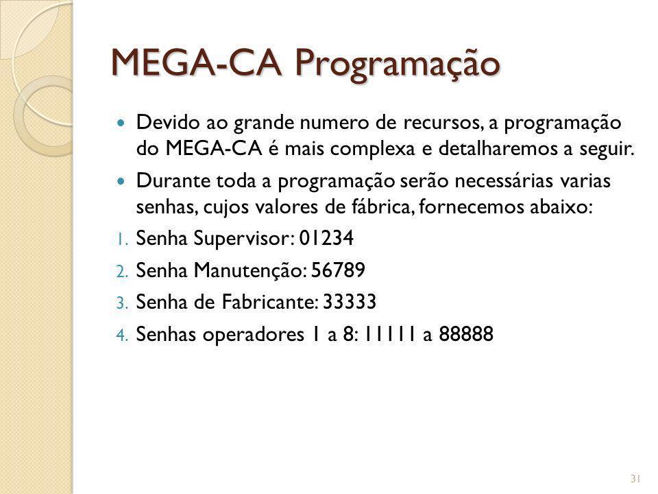 MEGA-CA Programação Devido ao grande numero de recursos, a programação do MEGA-CA é mais complexa e detalharemos a seguir. Durante toda a programação