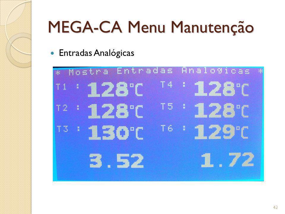 MEGA-CA Menu Manutenção Entradas Analógicas 42