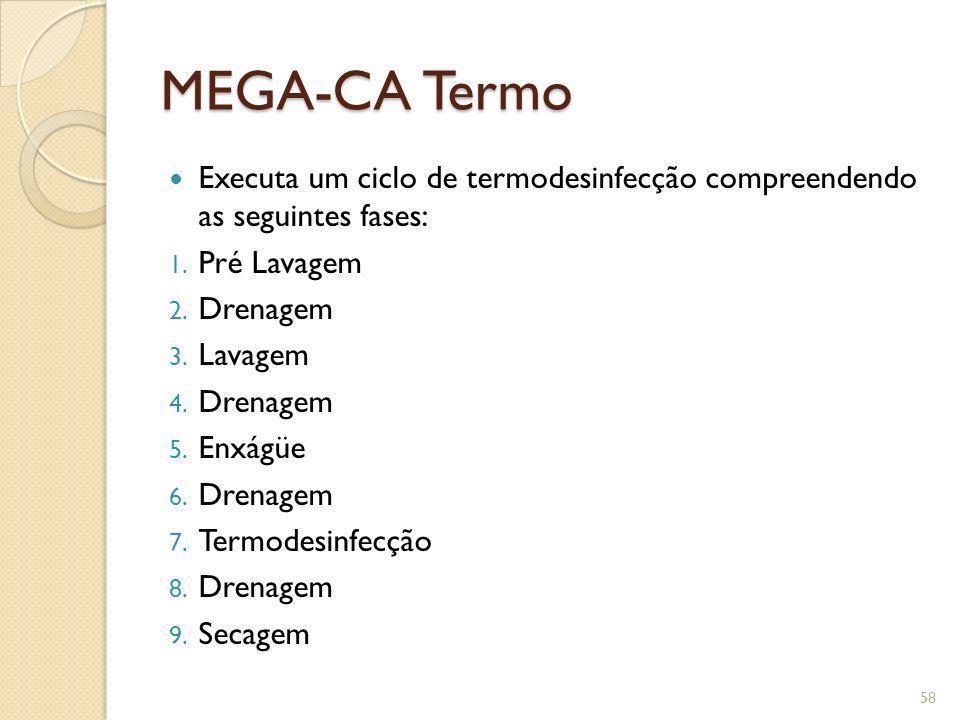 MEGA-CA Termo Executa um ciclo de termodesinfecção compreendendo as seguintes fases: 1. Pré Lavagem 2. Drenagem 3. Lavagem 4. Drenagem 5. Enxágüe 6. D