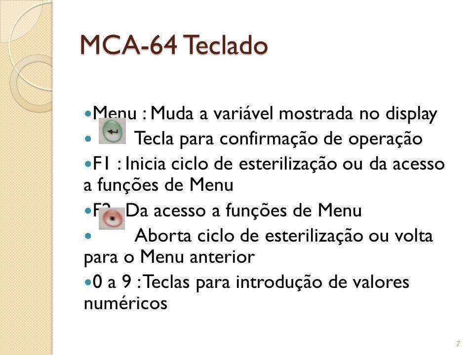 MCA-64 Teclado Menu : Muda a variável mostrada no display Tecla para confirmação de operação F1 : Inicia ciclo de esterilização ou da acesso a funções