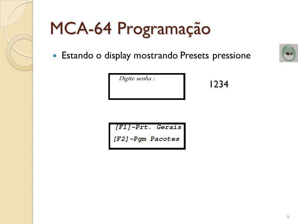 MCA-64 Presets Gerais PreVac Pressão 10.40Primeiro valor de pressão para pré vácuo pulsante ( Só para sistemas c/ transdutor ) PreVac Pressão 20.40Segundo valor de pressão para pré vácuo pulsante ( Só para sistemas c/ transdutor ) PreVac Vacuo 10.76Primeiro valor de vácuo para pré vácuo pulsante ( Só para sistemas c/ transdutor ) PreVac Vacuo 20.76Segundo valor de vácuo para pré vácuo pulsante ( Só para sistemas c/ transdutor ) PreVac Vacuo 30.76Terceiro valor de vácuo para pré vácuo pulsante ( Só para sistemas c/ transdutor ) Tempo P.Vacuo Vc00Tempo em minutos para vácuo na fase de pré vácuo por tempo ( Para sistema sem transdutor ) Tempo P.Vacuo Pr00Tempo em segundos para pressão na fase de pré vácuo por tempo ( Para sistema sem transdutor ) Pulso Ext.