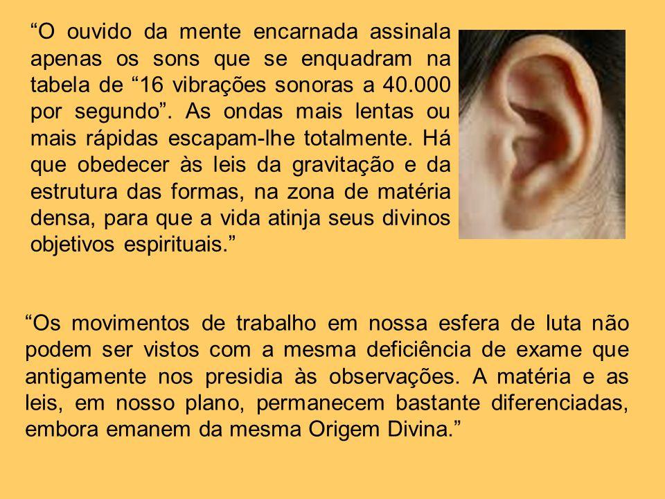 O ouvido da mente encarnada assinala apenas os sons que se enquadram na tabela de 16 vibrações sonoras a 40.000 por segundo. As ondas mais lentas ou m