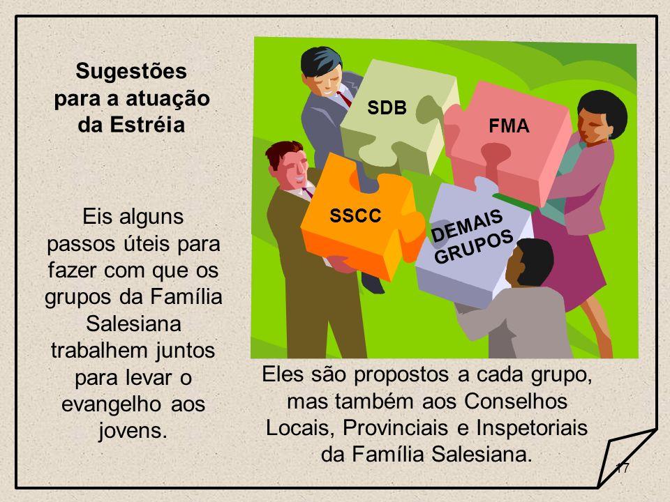 17 Sugestões para a atuação da Estréia Eis alguns passos úteis para fazer com que os grupos da Família Salesiana trabalhem juntos para levar o evangel